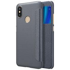 Custodia Portafoglio In Pelle con Supporto L01 per Xiaomi Mi 6X Nero