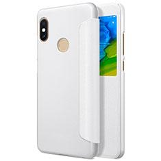 Custodia Portafoglio In Pelle con Supporto L01 per Xiaomi Redmi Note 5 Bianco