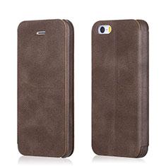 Custodia Portafoglio In Pelle con Supporto L02 per Apple iPhone SE Marrone
