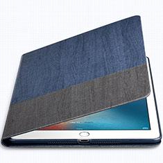 Custodia Portafoglio In Pelle con Supporto L02 per Apple New iPad 9.7 (2017) Blu