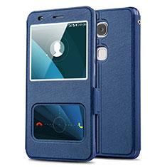 Custodia Portafoglio In Pelle con Supporto L02 per Huawei GR5 Blu