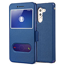 Custodia Portafoglio In Pelle con Supporto L02 per Huawei Honor 6X Blu