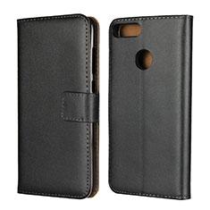 Custodia Portafoglio In Pelle con Supporto L02 per Huawei Honor 9 Lite Nero