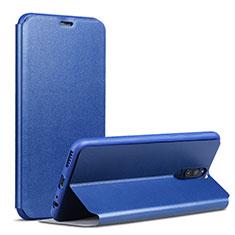 Custodia Portafoglio In Pelle con Supporto L02 per Huawei Mate 10 Lite Blu