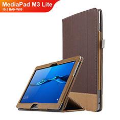 Custodia Portafoglio In Pelle con Supporto L02 per Huawei MediaPad M3 Lite 10.1 BAH-W09 Marrone