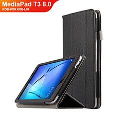 Custodia Portafoglio In Pelle con Supporto L02 per Huawei MediaPad T3 8.0 KOB-W09 KOB-L09 Nero