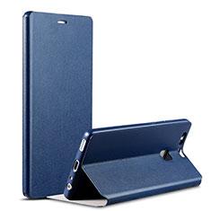 Custodia Portafoglio In Pelle con Supporto L02 per Huawei P9 Blu