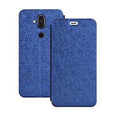 Custodia Portafoglio In Pelle con Supporto L02 per Nokia 7.1 Plus Blu