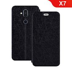 Custodia Portafoglio In Pelle con Supporto L02 per Nokia X7 Nero