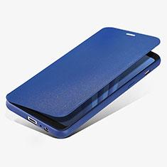 Custodia Portafoglio In Pelle con Supporto L02 per Samsung Galaxy A8 (2018) A530F Blu