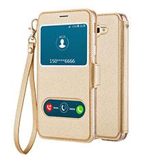 Custodia Portafoglio In Pelle con Supporto L02 per Samsung Galaxy On5 (2016) G570 G570F Oro