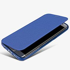 Custodia Portafoglio In Pelle con Supporto L02 per Samsung Galaxy S7 Edge G935F Blu