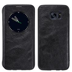 Custodia Portafoglio In Pelle con Supporto L02 per Samsung Galaxy S7 Edge G935F Nero