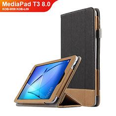 Custodia Portafoglio In Pelle con Supporto L03 per Huawei MediaPad T3 8.0 KOB-W09 KOB-L09 Nero