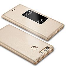 Custodia Portafoglio In Pelle con Supporto L03 per Huawei P9 Oro