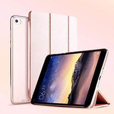 Custodia Portafoglio In Pelle con Supporto L04 per Xiaomi Mi Pad 3 Oro Rosa