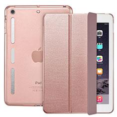 Custodia Portafoglio In Pelle con Supporto L05 per Apple iPad Mini 3 Oro Rosa