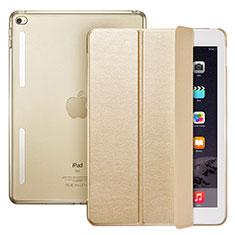 Custodia Portafoglio In Pelle con Supporto L06 per Apple iPad Mini 4 Oro