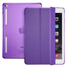 Custodia Portafoglio In Pelle con Supporto L06 per Apple iPad Mini 4 Viola