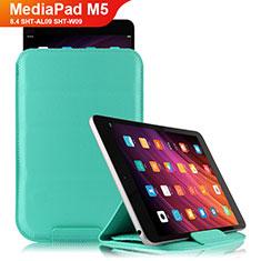 Custodia Portafoglio In Pelle con Supporto L06 per Huawei MediaPad M5 8.4 SHT-AL09 SHT-W09 Ciano