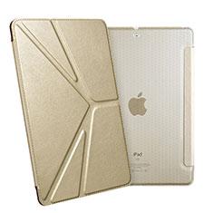 Custodia Portafoglio In Pelle con Supporto L08 per Apple New iPad 9.7 (2017) Oro