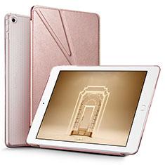 Custodia Portafoglio In Pelle con Supporto L08 per Apple New iPad 9.7 (2017) Oro Rosa