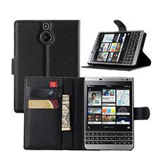 Custodia Portafoglio In Pelle con Supporto per Blackberry Passport Silver Edition Nero