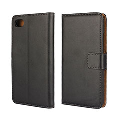 Custodia Portafoglio In Pelle con Supporto per Blackberry Z30 Nero