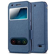 Custodia Portafoglio In Pelle con Supporto per Huawei Ascend G620S Blu