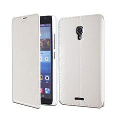 Custodia Portafoglio In Pelle con Supporto per Huawei Ascend Mate 2 Bianco