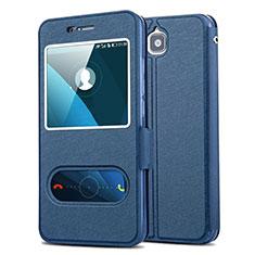 Custodia Portafoglio In Pelle con Supporto per Huawei Enjoy 5 Blu