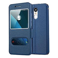 Custodia Portafoglio In Pelle con Supporto per Huawei Enjoy 6 Blu