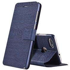 Custodia Portafoglio In Pelle con Supporto per Huawei Enjoy 7 Blu