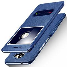 Custodia Portafoglio In Pelle con Supporto per Huawei Enjoy 7 Plus Blu