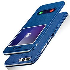 Custodia Portafoglio In Pelle con Supporto per Huawei Enjoy 7S Blu