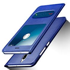 Custodia Portafoglio In Pelle con Supporto per Huawei G10 Blu