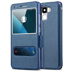 Custodia Portafoglio In Pelle con Supporto per Huawei Honor 7 Blu
