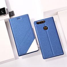 Custodia Portafoglio In Pelle con Supporto per Huawei Honor 8 Blu