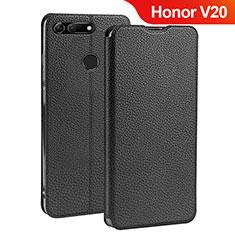 Custodia Portafoglio In Pelle con Supporto per Huawei Honor View 20 Nero