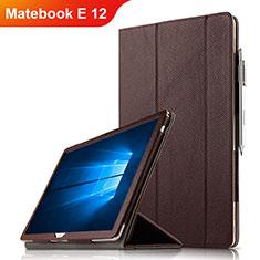 Custodia Portafoglio In Pelle con Supporto per Huawei Matebook E 12 Marrone
