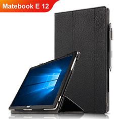 Custodia Portafoglio In Pelle con Supporto per Huawei Matebook E 12 Nero