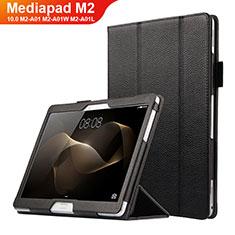 Custodia Portafoglio In Pelle con Supporto per Huawei MediaPad M2 10.0 M2-A01 M2-A01W M2-A01L Nero