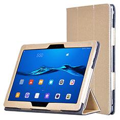 Custodia Portafoglio In Pelle con Supporto per Huawei MediaPad M3 Lite Oro