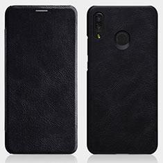 Custodia Portafoglio In Pelle con Supporto per Huawei P Smart+ Plus Nero
