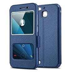 Custodia Portafoglio In Pelle con Supporto per Huawei P8 Lite Smart Blu