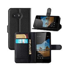 Custodia Portafoglio In Pelle con Supporto per Microsoft Lumia 550 Nero