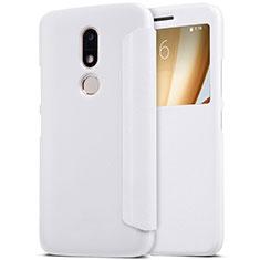 Custodia Portafoglio In Pelle con Supporto per Motorola Moto M XT1662 Bianco
