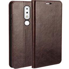 Custodia Portafoglio In Pelle con Supporto per Nokia 6.1 Plus Marrone