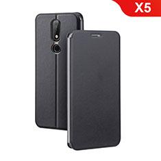 Custodia Portafoglio In Pelle con Supporto per Nokia X5 Nero