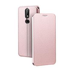 Custodia Portafoglio In Pelle con Supporto per Nokia X5 Oro Rosa